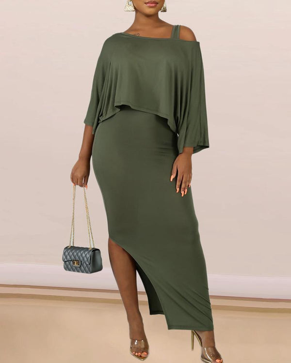 Solid Skew Neck Batwing Sleeve Top & Thick Strap Slit Dress Sets