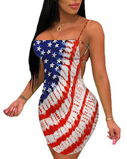 Flag Print Spaghetti Strap Backless Dress