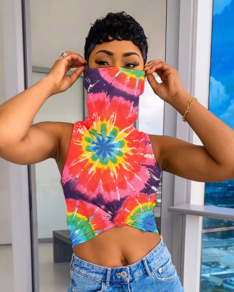 Tie Dye Print Sleeveless Top With Bandana