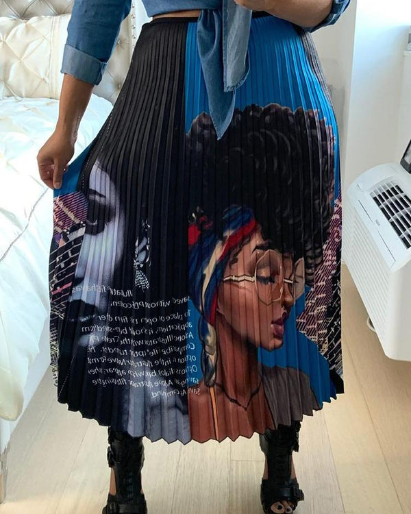 High Waist Cartoon Print Pleated Skirts