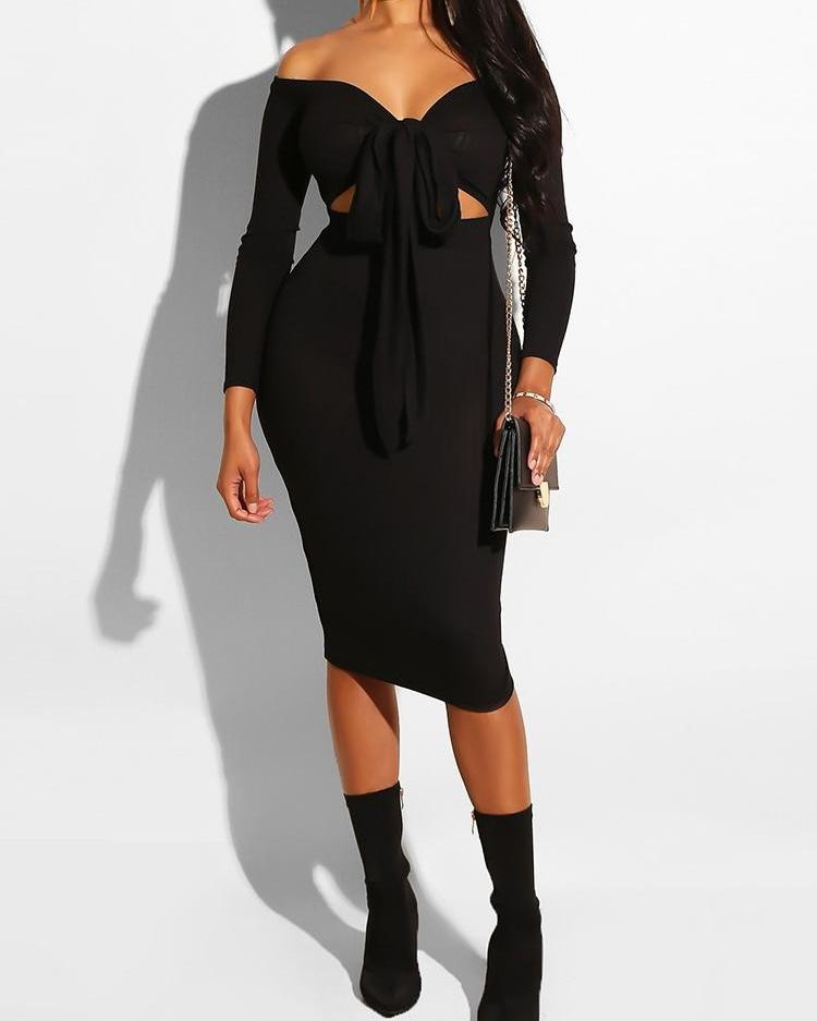 Off Shoulder Knotted Front Cut Out Dress