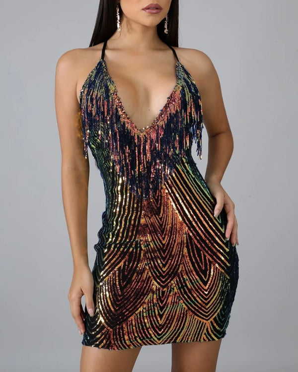 Glitter Spaghetti Strap Sequins Tassel Design Bodycon Dress