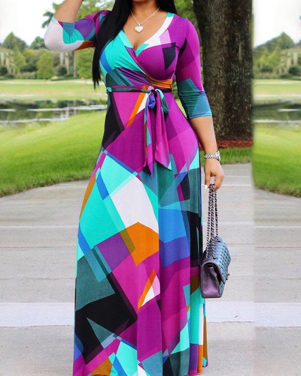 Contrast Color Self-Belted Wrapped Maxi Dress