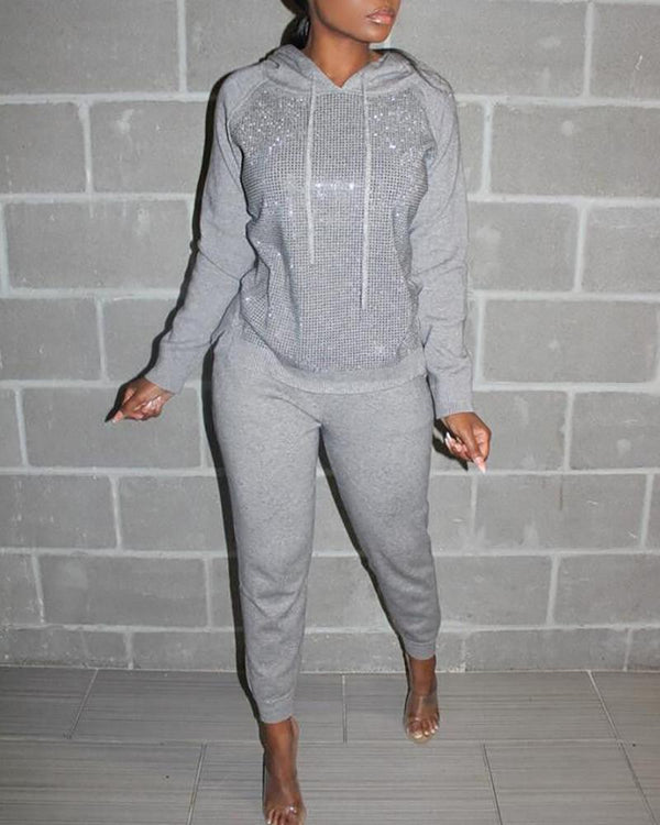 Sequins Drawstring Design Hoodies Top & Pants Sets
