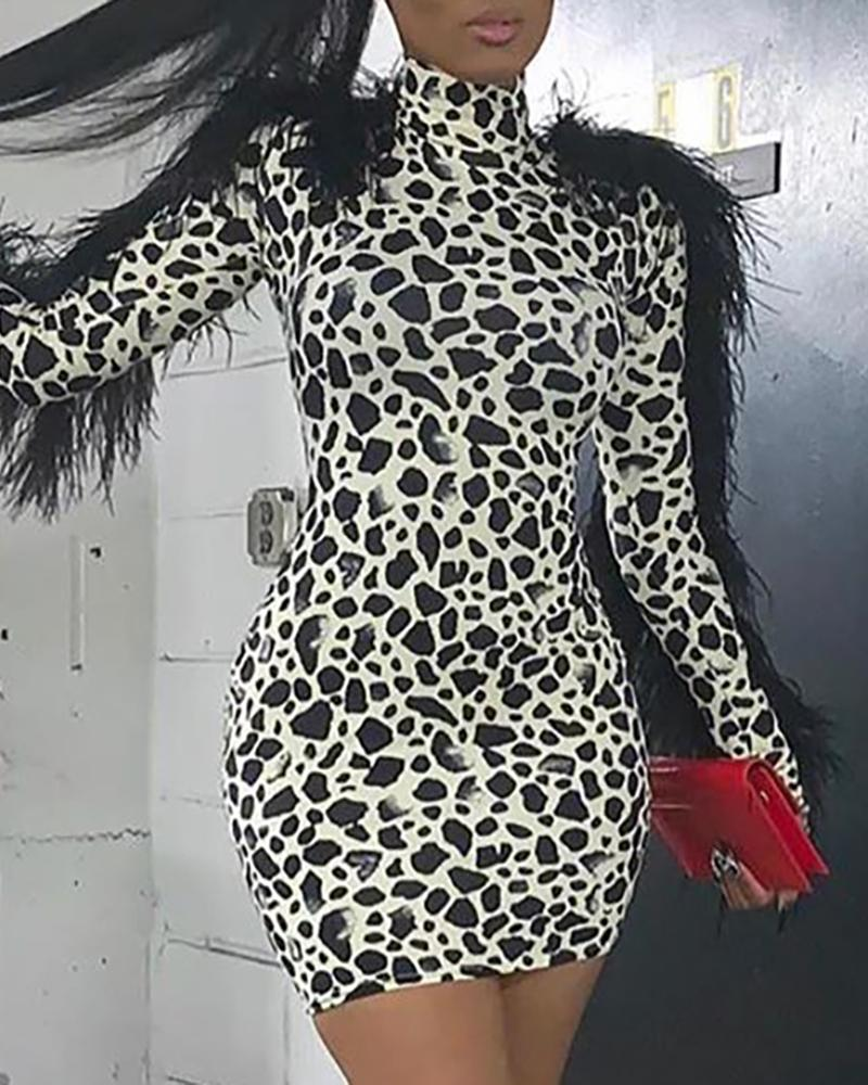 Mock Neck Feather Insert Long Sleeve Leopard Bodycon Dress