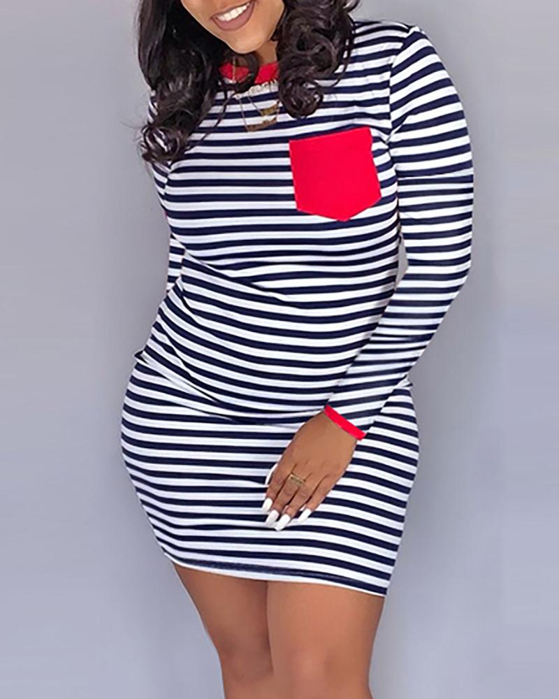 Striped Pocket Design Long Sleeve Bodycon Dress