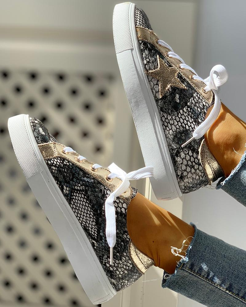 Glitter Lace-Up Star Pattern Casual Sneakers