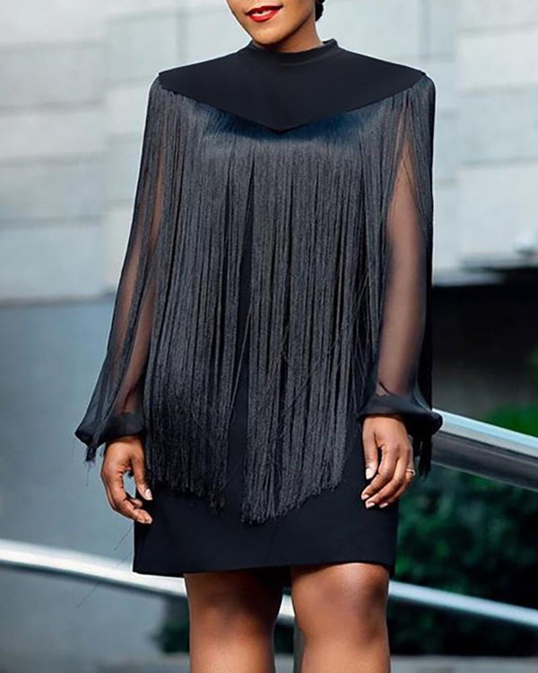 Sheer Mesh Sleeve Dress With Tassel Cape