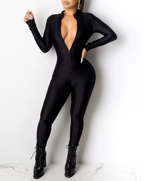 Solid Zipped Long Sleeve Jumpsuit