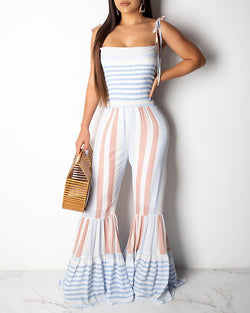 Tied Strap Striped Shirring Bell-Bottom Jumpsuit