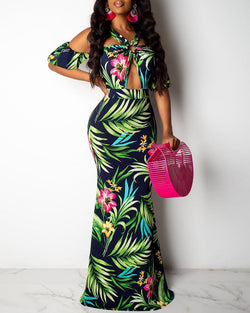 Cold Shoulder Tropical Print Maxi Dress