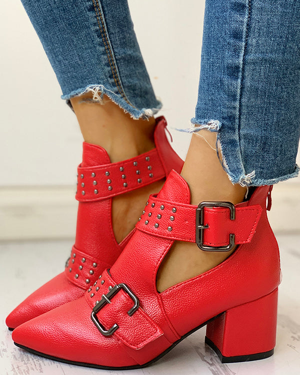 Studded PU Ankle-buckled Pointed Toe Chunky Heels