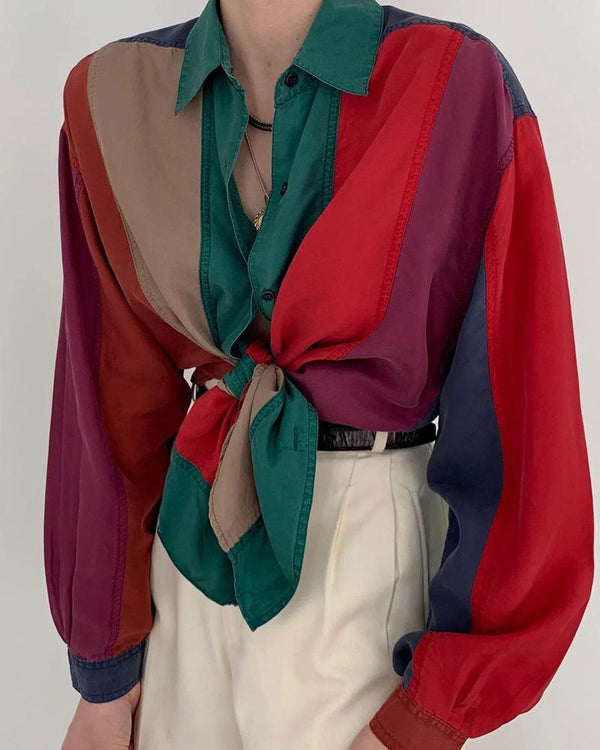V-Neck Tie Contrast Color Blouse
