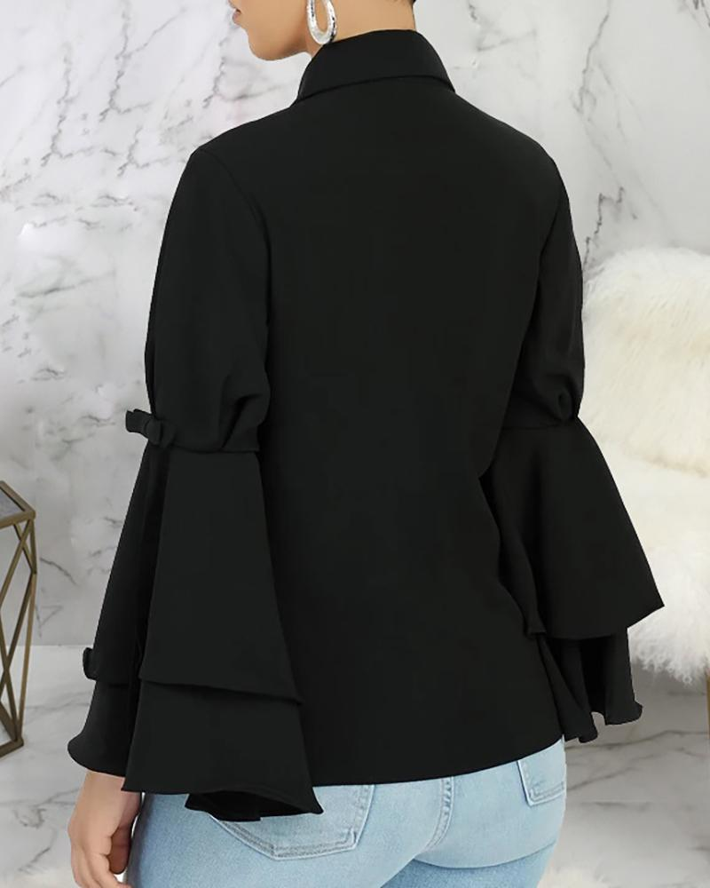 Solid Turn-down Collar Layered Ruffles Sleeve Buttoned Shirt