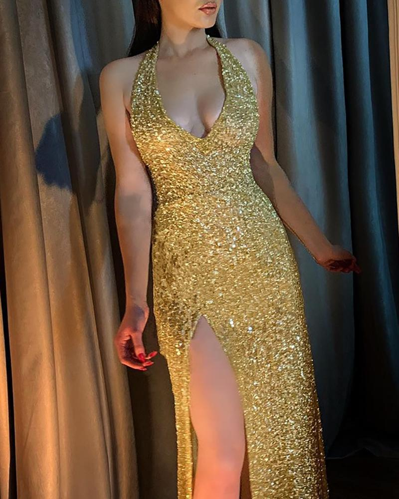 Glitter Halter High Slit Dress