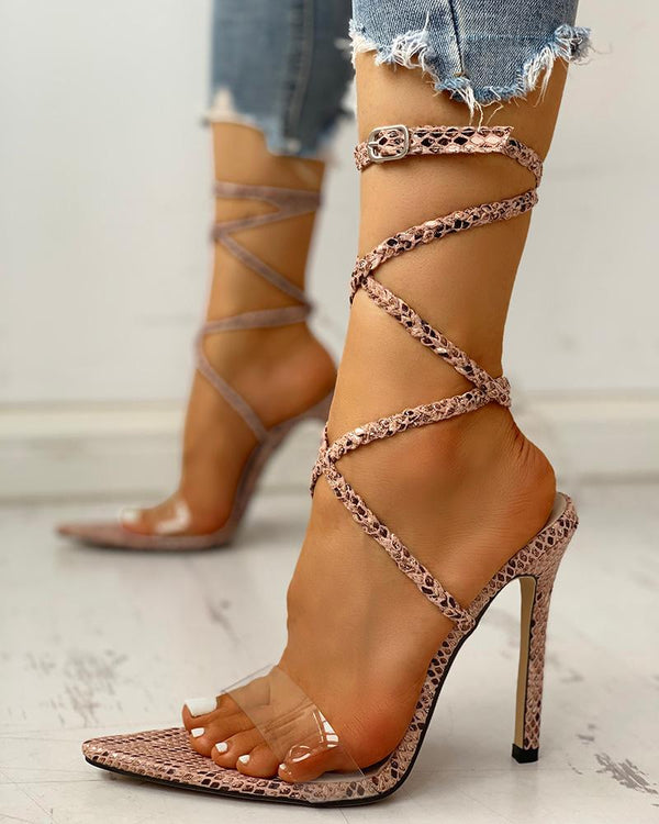 Open Toed Strap Lace-Up Thin Heeled Sandals