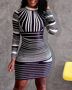 Long Sleeve Colorblock Striped Bodycon Dress