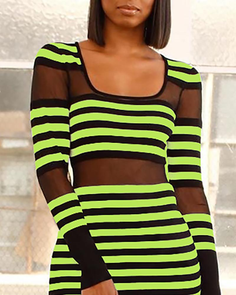 Round Neck Colorblock Striped Sheer Mesh Insert Dress