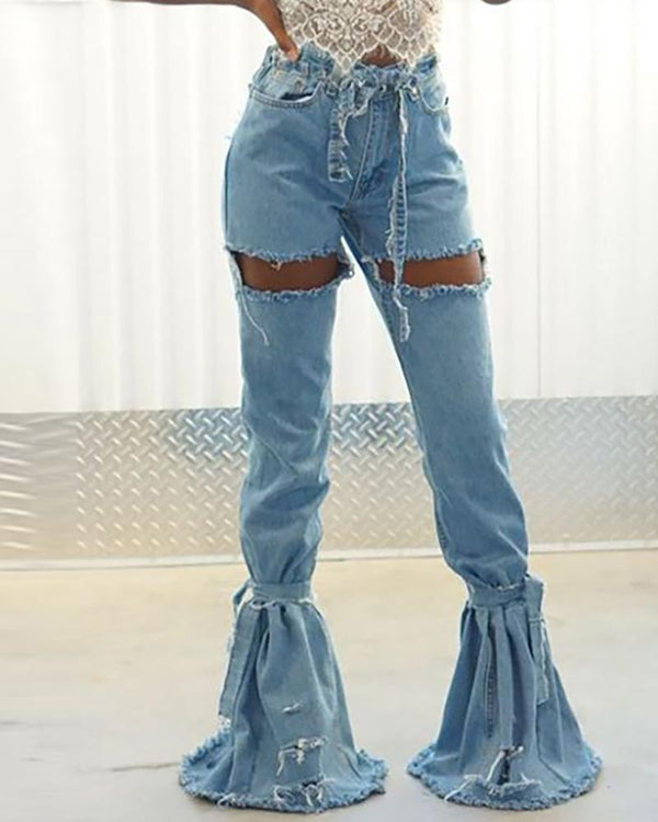 Denim Hollow Out Distressed Bell-Bottom Jeans