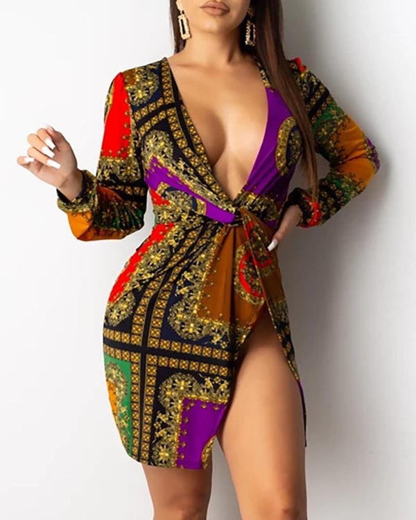 Mixed Print Deep V Slit Bodycon Dress