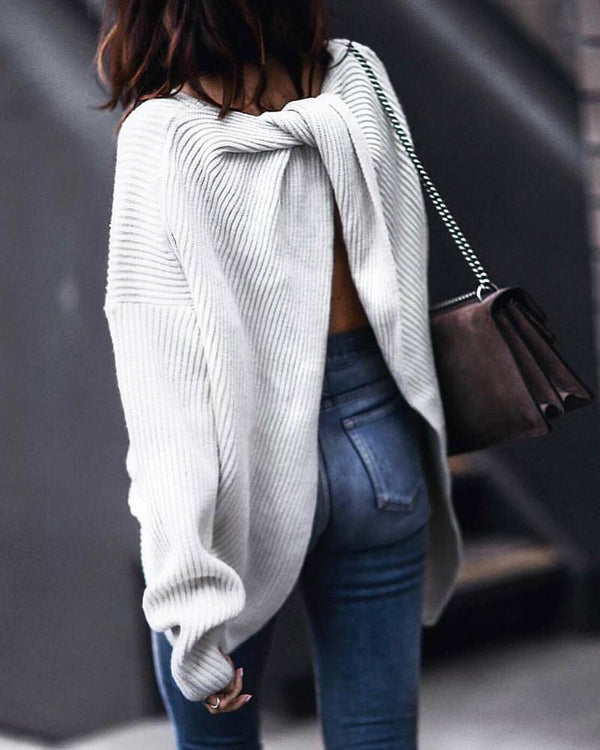Solid Long Sleeve Twisted Ribbed Back Slit Knitting Sweater