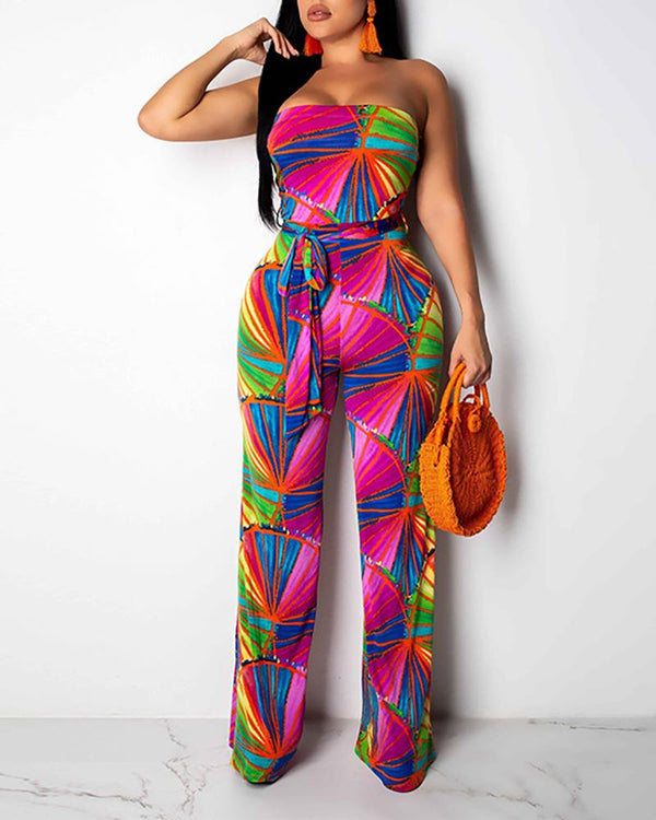 Sleeveless Printed Lace Up Jumpsuit