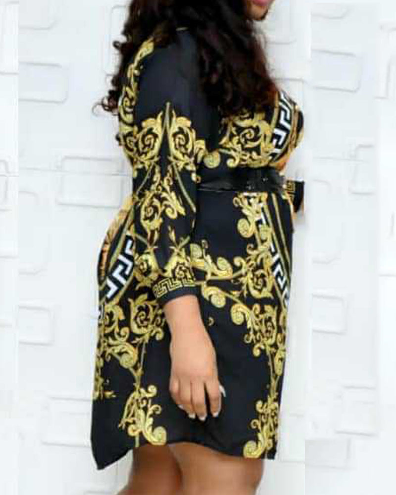 Long Sleeve Print Casual Dress