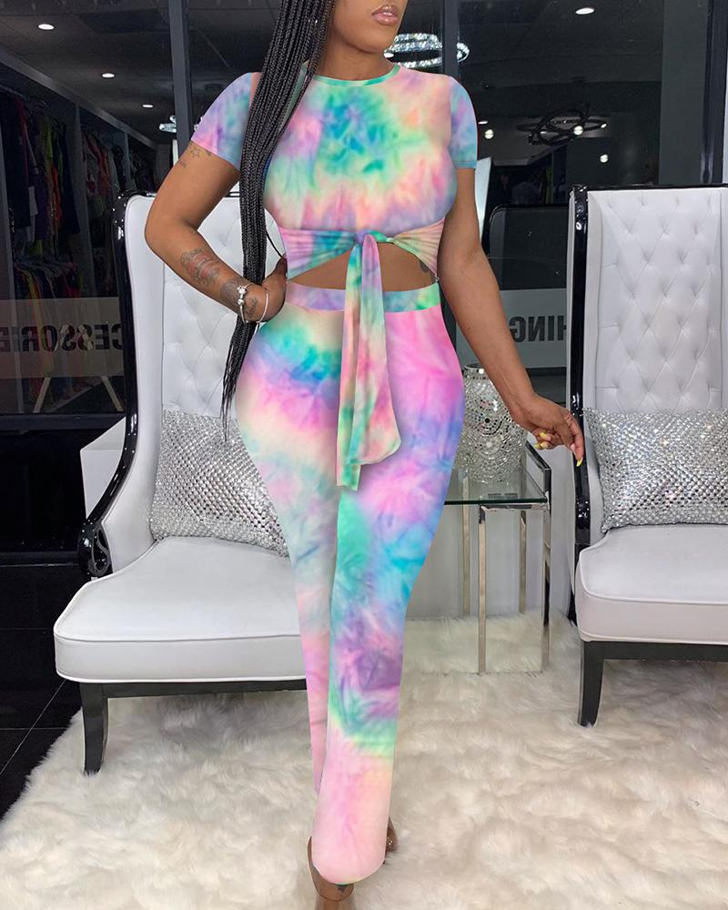 Striped/Tie Dye Print Knotted Jumpsuit