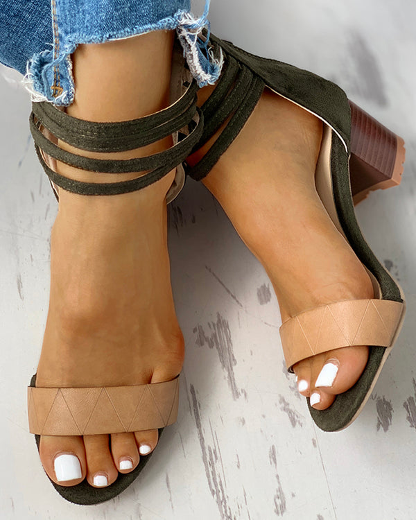 Colorblock Open Toe Suede Chunky Heeled Sandals