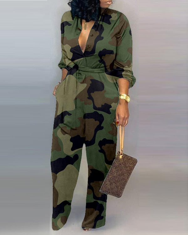 V Neck Camouflage Print Buttoned Jumpsuit