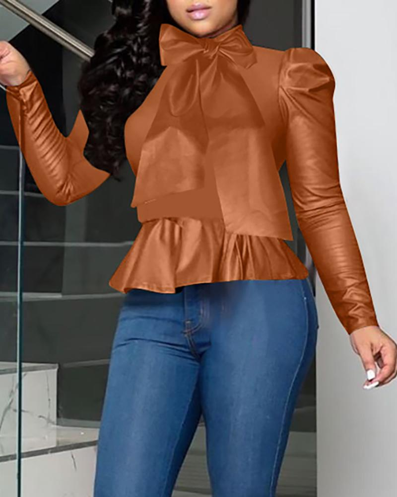 Bowknot Design Solid Faux Leather Blouse