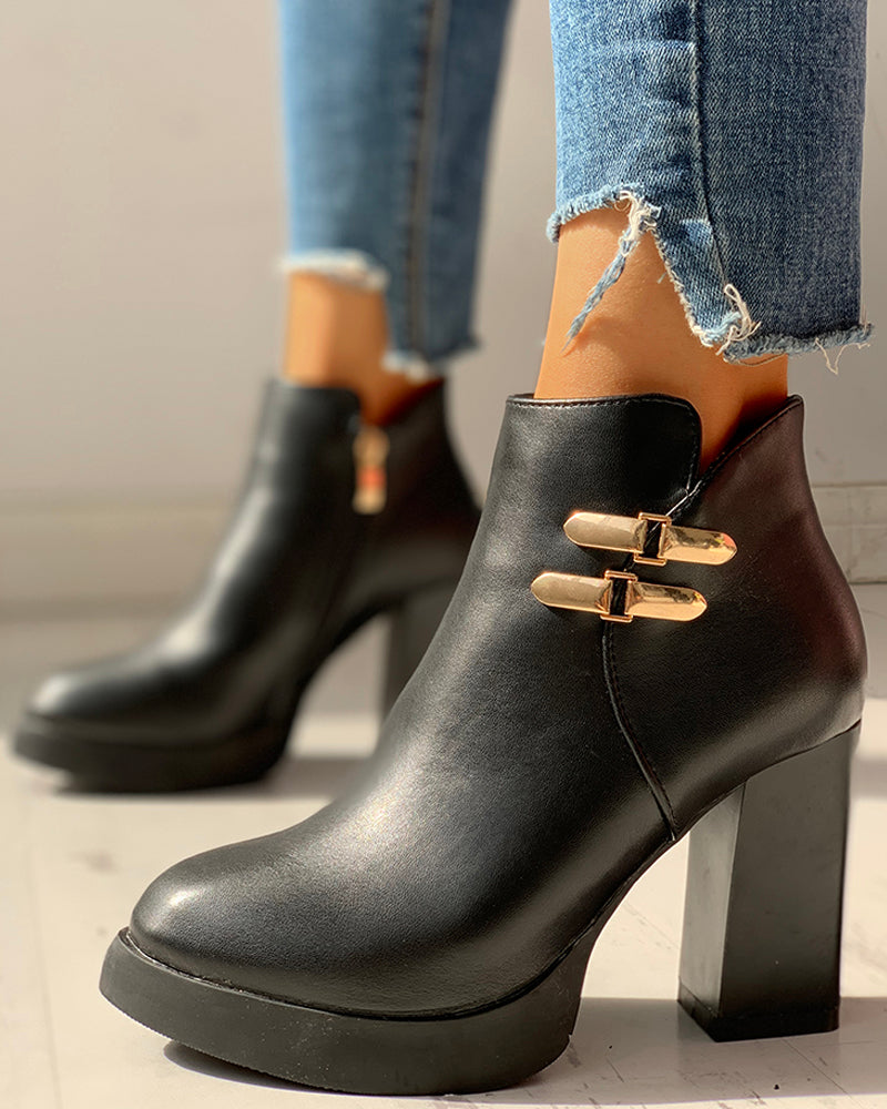 PU Ankle-Buckled Pointed Toe Chunky Heeled Boots