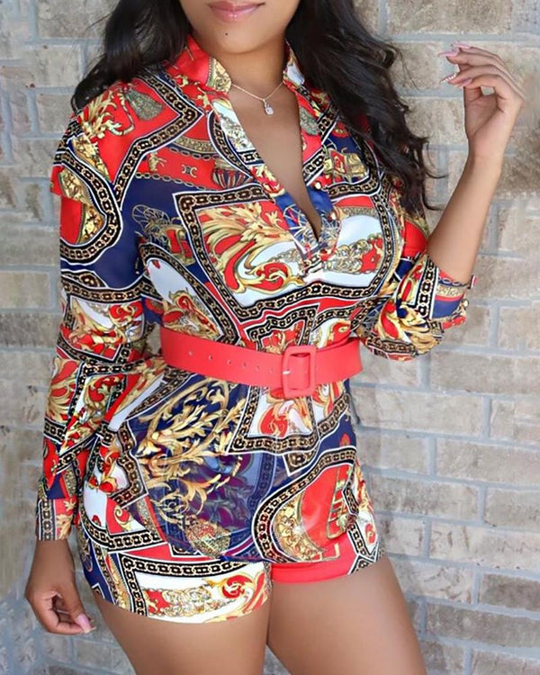 Baroque Print Long Sleeve Romper