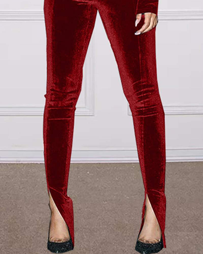 Velvet Long Sleeve Top & Slit Pant Sets
