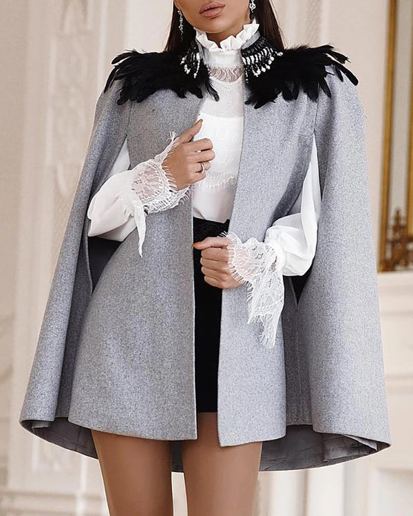 Solid Open Front Cape Coat