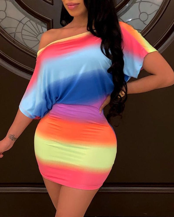 One Shoulder Gradient Color Bodycon Dress