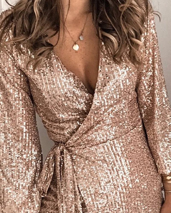 Sequined Tie Waist Mini Dress