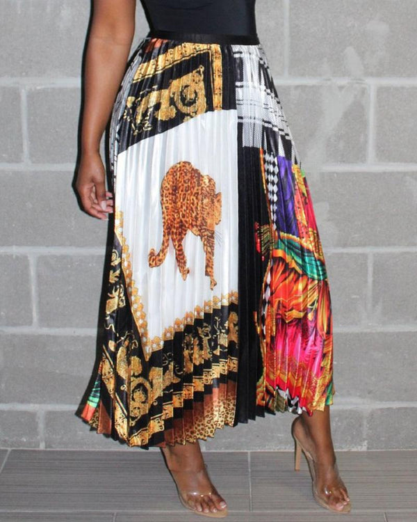 Ethnic Print High Waist Long Pleated  Skirt