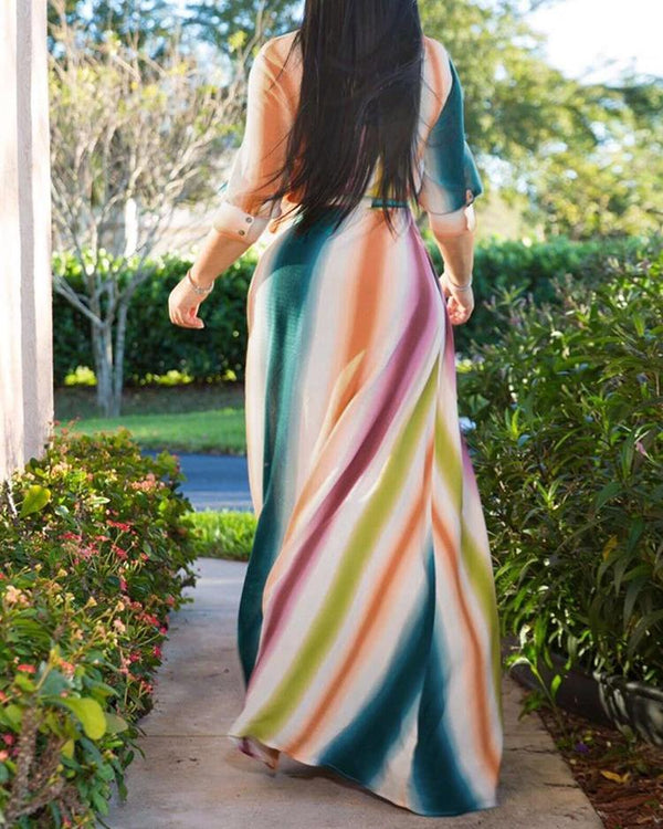 Colorful Striped Buttoned Shirt Maxi Dress