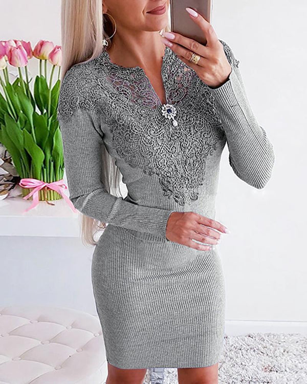 Solid Embroidery Long Sleeve Casual Dress