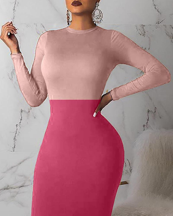 Colorblock Patchwork Long Sleeve Bodycon Dress