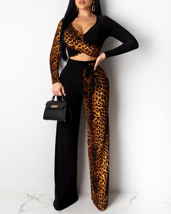Leopard Patchwork Low Cut Top & Pant Sets