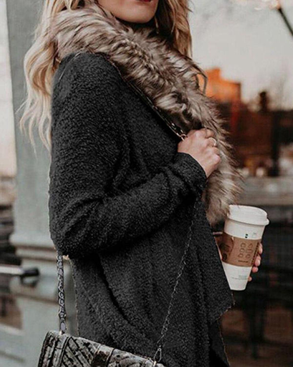 Solid Faux Fur Lined Cardigan