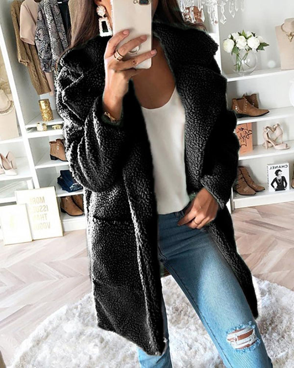 Solid Waterfall Collar Pocket Design Long Sleeve Longline Fluffy Coat