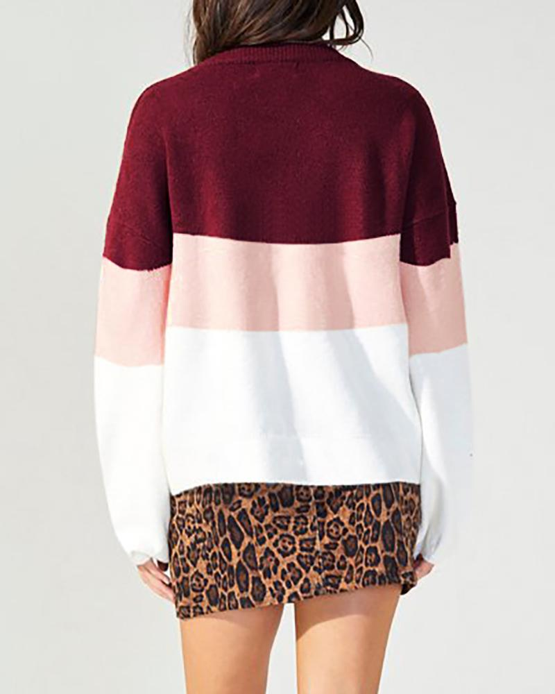 Colorblock Insert Round Neck Knitting Sweater