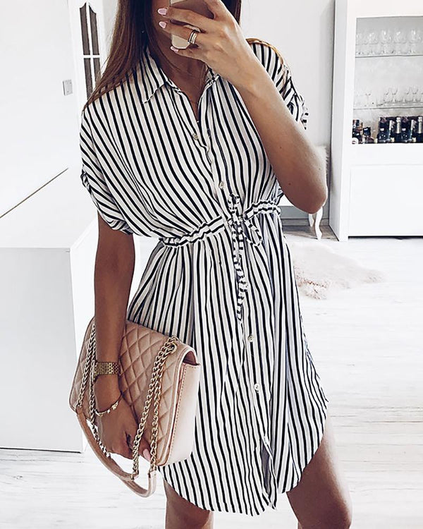 Striped Short Sleeve Drawstring Shirt Dress