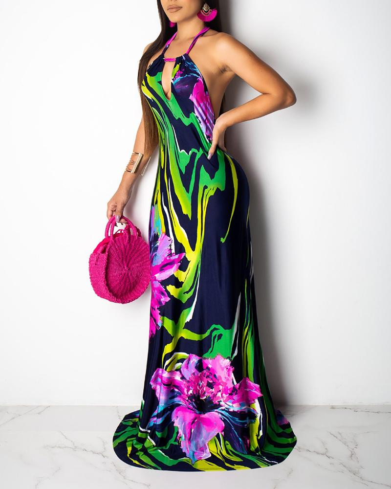 Floral Print Halter Backless Maxi Dress