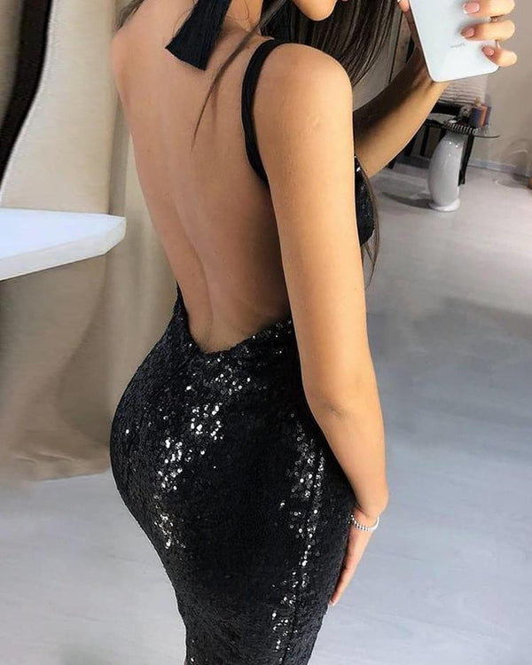 Thin Strap Open Back Sequin Party Dress