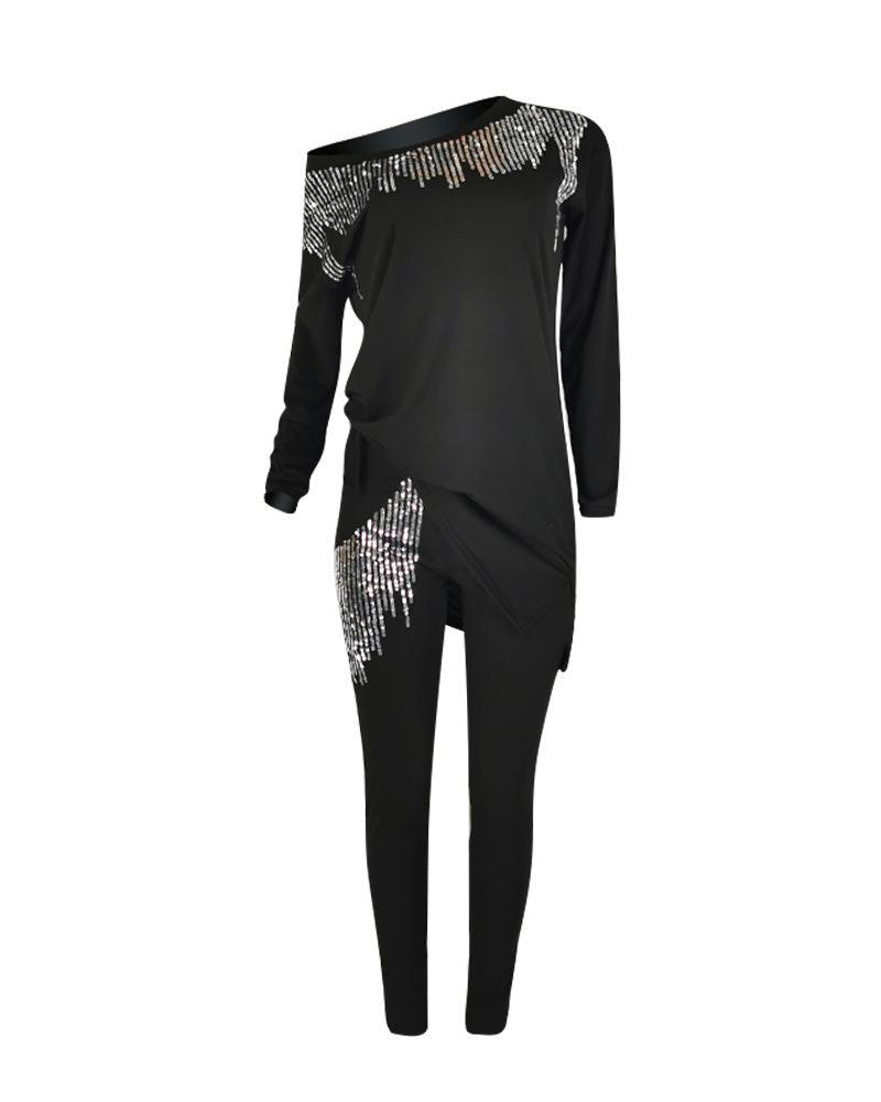 Skew Neck Sequins Top & Pant ets