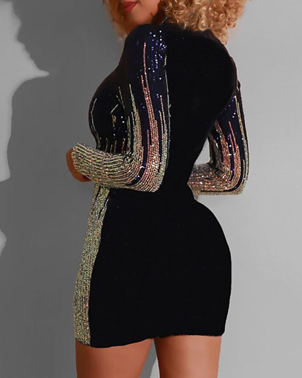 Glitter Round Neck Colorblock Insert Sequins Bodycon Dress
